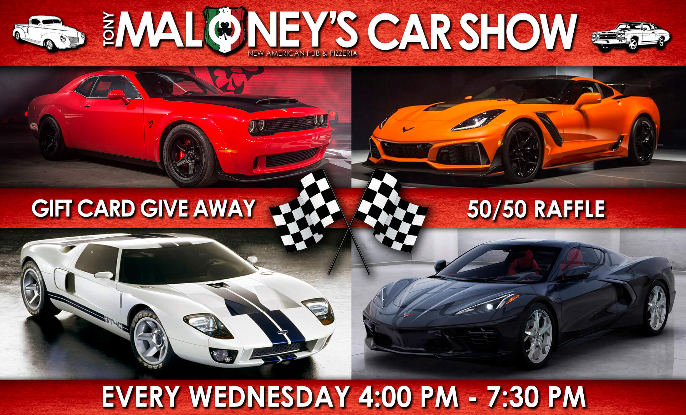 Car Show Every Wednesday from 4pm to 7pm - Gift Card Giveaway and 50/50 raffle
