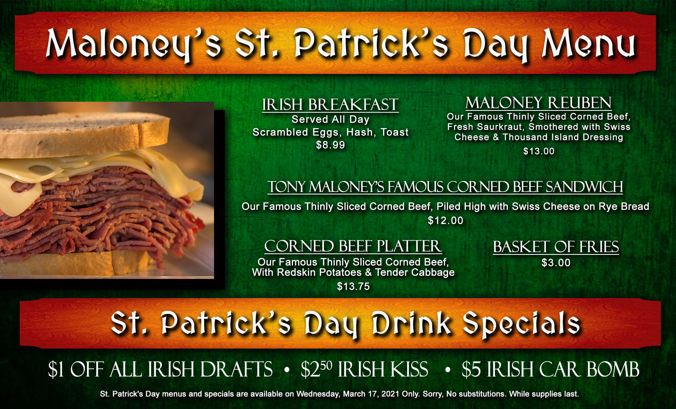 St Patty's Day Menu, call for details